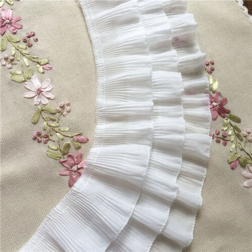 1yd 12cm Pleated Lace Dress Collar Ribbon Ruffle Trim Curtains Skirts Hem Sewing