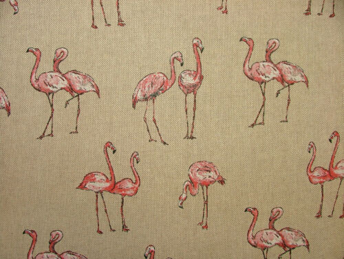 Mini Drucke Flamingos Land Seite Tiere Leinen Optik Stoff Vorhang Polster