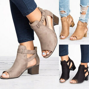 Womens-Ladies-Mid-Block-Heel-Ankle-Boots-Peep-Toe-Buckle-Summer-Sandals-Shoes