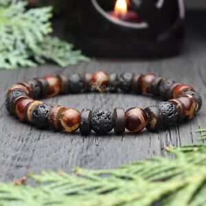 Bracelet-Homme-perles-pierre-gemme-Agate-Motif-Tibetain-Dzi-Bois-Cocotier-Coco