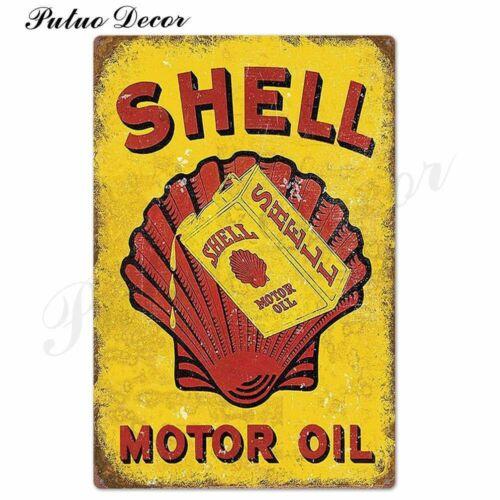 Petrol Station Metal Sign Pub Gas  Tin License Plate Wall Shell Retro Rustic Bar