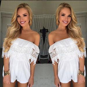AU-Womens-Mini-Off-Shoulder-Lace-Playsuits-Lady-Jumpsuits-Summer-Beach-Sundress