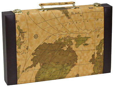 "15"" x 19"" OLD WORLD MAP BACKGAMMON SET - PORTABLE FOLDING TRAVEL CASE"