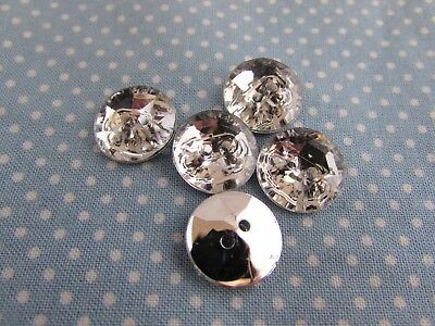 13mm Silver Backed Crystal Rhinestone Flower Shaped Buttons Packs 2 5 10 or 20