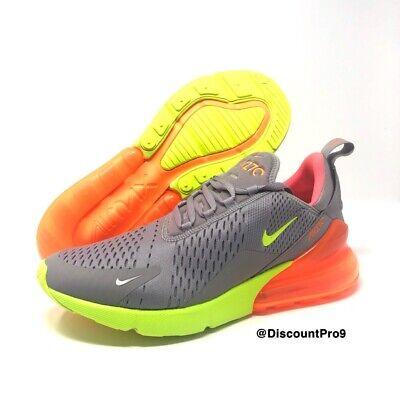 Men's Nike Air Max 270 Running Shoes Grey Volt Orange Ah8050 012 Sz 10