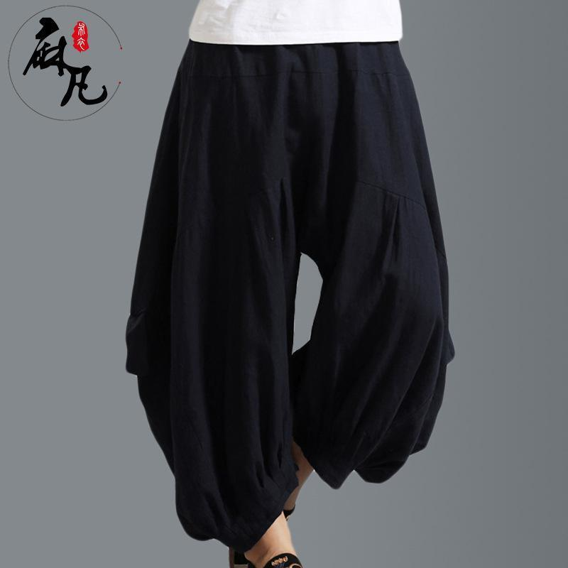 Mens Harem Loose cotton Pants Japanese Style Baggy Casual Trousers Oversized new