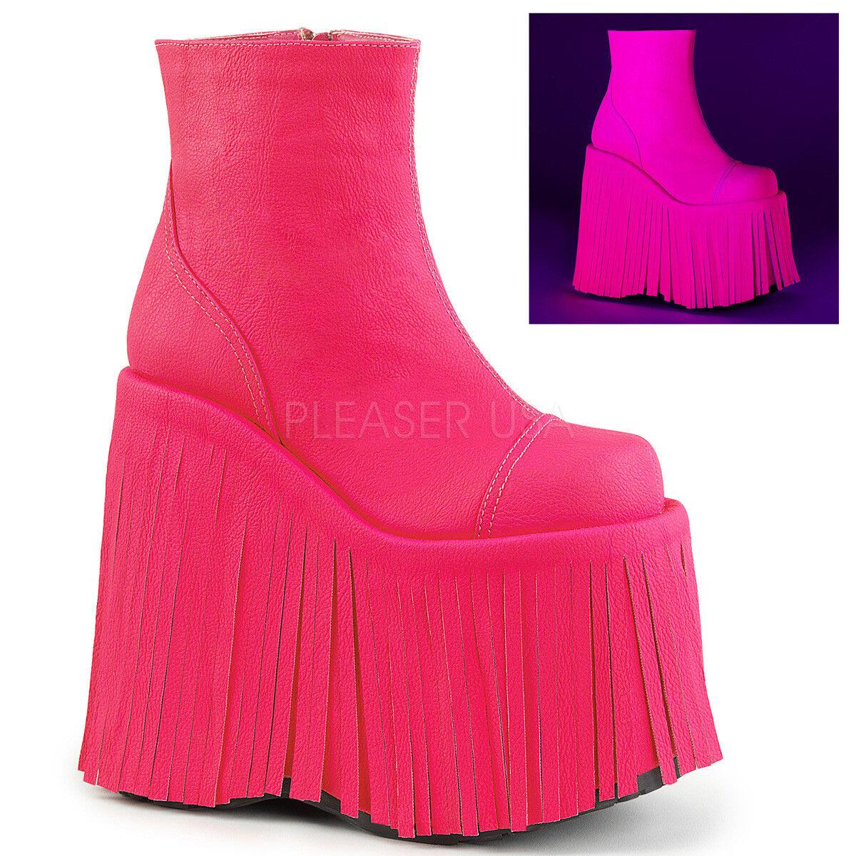 negozio online Demonia SLAY-205 donna Hot rosa Leather Fringed Fringed Fringed Platform Club scarpe Ankle avvio  il più recente