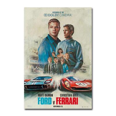 Ford v Ferrari Poster Movie Canvas Silk Film Poster Print 24x36 inch Home Decor