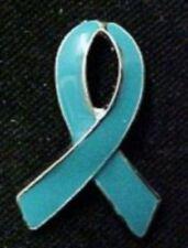 Teal Ribbon Lapel Pin Tac PTSD Ovarian Batten Rape Awareness Silver Plated New