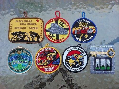 Boy Scout Uniform Patch Lot Of 7 BSA Black Swamp Tamarack Jamboree Pinewood