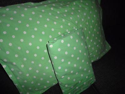 POTTERY BARN TEEN GREEN & WHITE POLKA DOT (2PC) TWIN/TWIN XL FLAT SHEET P/CASE