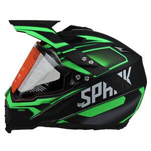 Green Full Face Motorcross Off Road Dirt Bike Atv Helmet Visor Lens Adult Gear Ebay