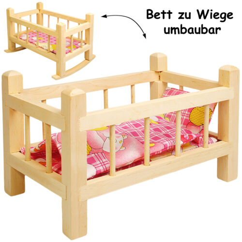 """muñecas cama /& puppenwiege-de madera-de reequipar-con la ropa de cama 2 en 1 /""""mädche"""