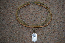 MENS BEADED DOG TAG CHAIN 2 PENDANT NECKLACE BNWOT BEACH SURF ROCK COOL HOLIDAY
