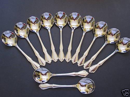 12 CHATEAU Crème Bouillon cuillères ONEIDA 18 8 neuf livraison gratuite états-Unis Uniquement