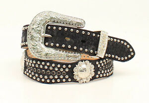 Black-SCALLOP-Crystal-Nocona-LEATHER-Western-BELT-Hair-Leather-N3419401-14
