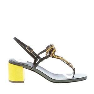 EMANUELA-CARUSO-scarpe-donna-Sandalo-infradito-pelle-nero-gioiello-snake-giallo
