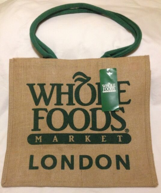 Whole Foods London Jute Tote Bag Burlap Green Brown Uk Reuse England Sy New