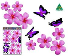 Jas Stickers Flower Plumeria Car Sticker Pink Butterfly St024pk3 Australia Made
