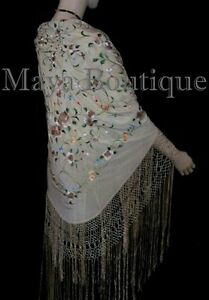 "Embroidered Silk Piano Shawl Wrap Flamenco Roses Black Fringe 61/"" Maya Matazaro"