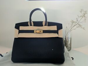 BNIB Hermes Birkin 25 Handbag Togo leather Noir Black GHW gold ... 8209e312a