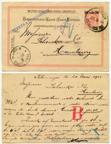 AUSTRIAN POST OFFICE in SALONICA GREECE 1900 STATIONERY SCHENKER HS 20p on 10h