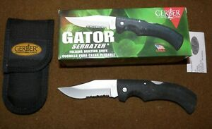 Gerber-Gator-Serrater-Folding-Hunting-Knife-Combo-Blade-with-Case-NIB-USGI