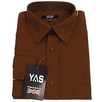 MENS POLY-COTTON LONG SLEEVE CASUAL SMART WORK FORMAL SUIT OFFICE SHIRT S-XL