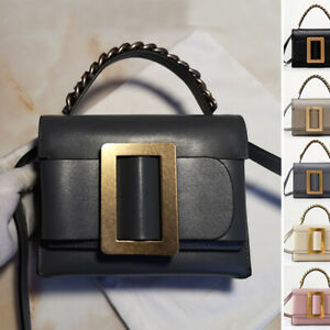 Real-Leather-Oversize-Buckle-Belt-Chain-Handle-Shoulder-Bag-Crossbody-Purse-Gift