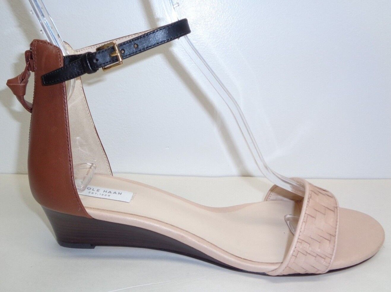 Cole Haan Größe 7.5 M GENEVIEVE WEAVE Tan Leder Wedge Sandales NEU Damenschuhe Schuhes