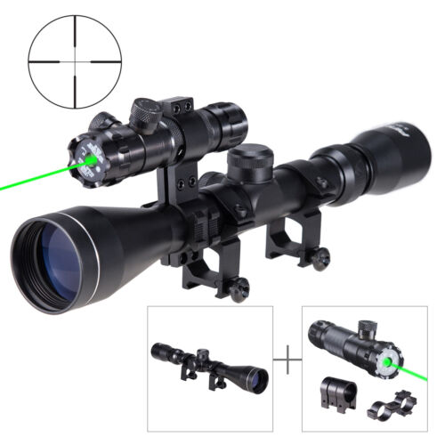 3-9x40 Tactical Rifle Scope Rangefinder//Crosshair// w//Torchlight Combo Red Laser