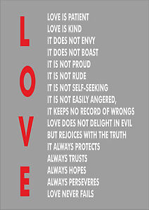 Love Is Patient Love Is Kind 1 Corinthians 134 Print Poster A3