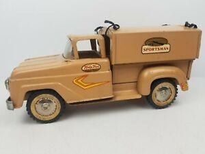 Vintage-Large-Tonka-Toys-Sportsman-Pickup-Truck-1960-Pressed-Steel-Tan-Brown