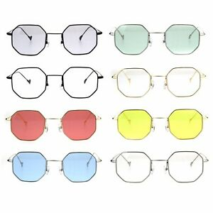 dfb490a533c6 Image is loading Mens-Vintage-Style-Octagon-Metal-Wire-Rim-Snug-