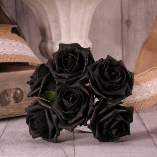 6 Tallos en 21 Colores Boda Flores Casa Pantalla Artes Crafts Té De Espuma Rosas