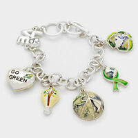 Go Green Earth Travel World Map Globe Planet Love Charm Fashion Toggle Bracelet
