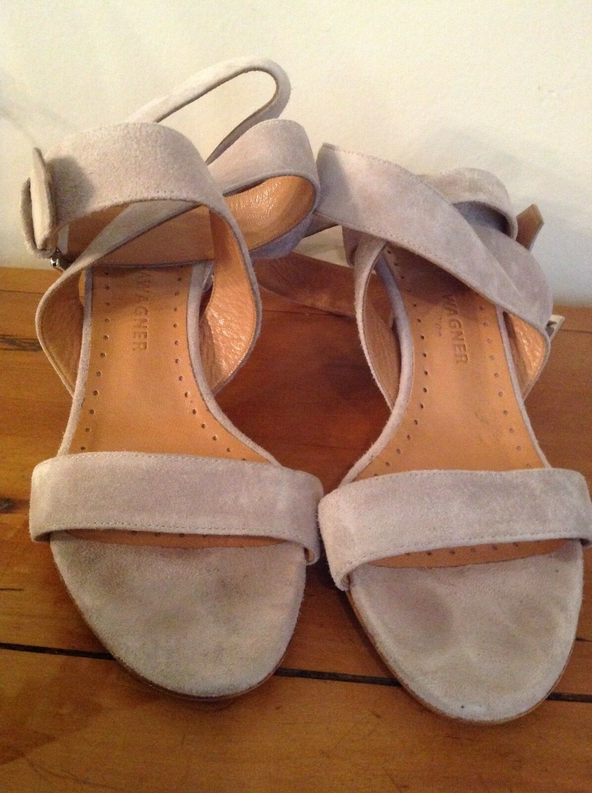 Beautiful Alexa Wagner Nude   Sand Suede Wrap-around Sandal - Size 36