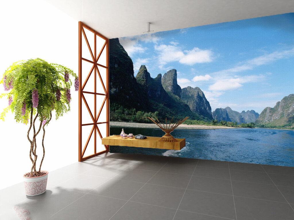 3D Hills River Beach 4 Wall Paper Wall Print Decal Wall Deco Indoor Mural Summer