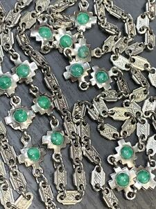 VINTAGE-Silver-Tone-Textured-Chain-54-LONG-NECKLACE-Green-Stone-Accent-Links
