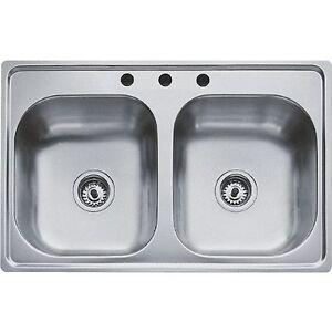 Teka Kitchen Sink Teka 533 363 3 hole 33 x 22 2 bowl top mount drop stainless steel image is loading teka 533 363 3 hole 33 034 x workwithnaturefo