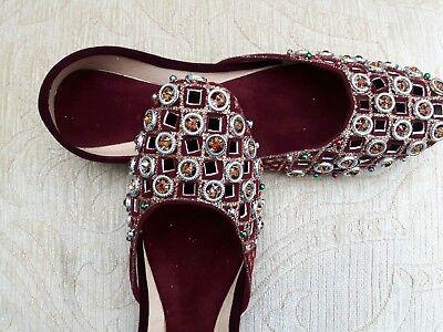 Señoras Marrón Indio Boda Terciopelo Khussa tamaño del zapato 5
