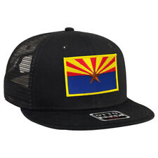 9efb0cb1e70 Arizona US state flag patch Flat bill trucker mesh adjustable snap back cap  hat