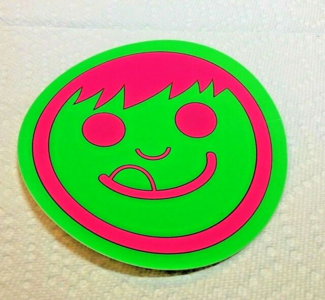 """Authentic NEFF Sticker Bright Green with Bright Pink Face 4/"""" round COOL!!"""