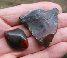 2 x BLOODSTONE *1 ROUGH UNPOLISHED *1 POLISHED TUMBLESTONE * GIFT BAG * ID CARD