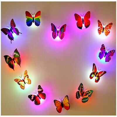 10X 3D Butterfly LED Wall Stickers Lights Kid/'s Room DIY Family Art Home Decor