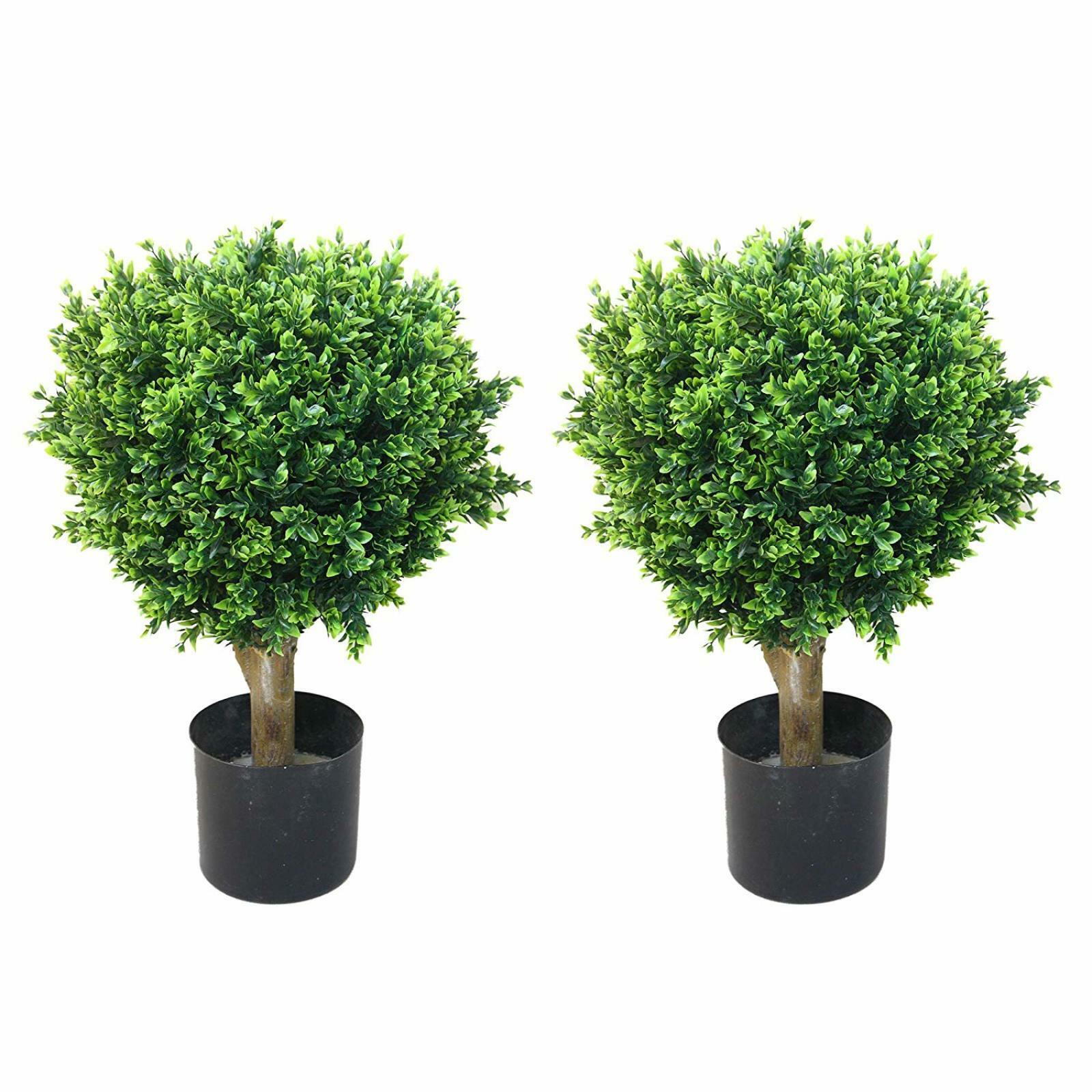 Topiary Trees Outdoor Large Artificial Potted Plants Stands Set Of
