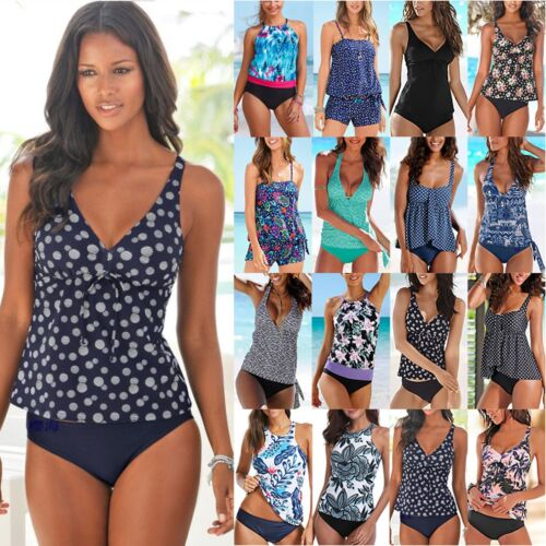 2tlg Damen Tankini Set Bikini Push Up Badeanzug Bademode Strand Schwimmanzug 42