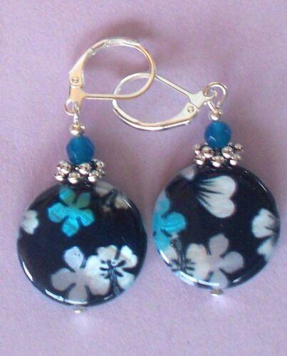 Black Aqua Periwinkle MOTHER OF PEARL /& JADE earring LEVERBACK artisan