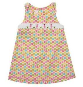 Girls-VIVE-LA-FETE-smocked-rainbow-dots-seahorse-dress-2T-3T-NWT-beach-sundress