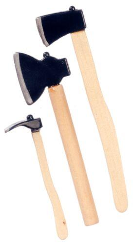 Dollhouse Miniature Hatchet Adze 3 lot Chopping Tool Set Scale 1//12 Ax